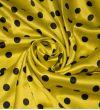 Атласный шелк Стрейч : Шелк-97%, Эластан-3%, Черный, Желтый, Горохи