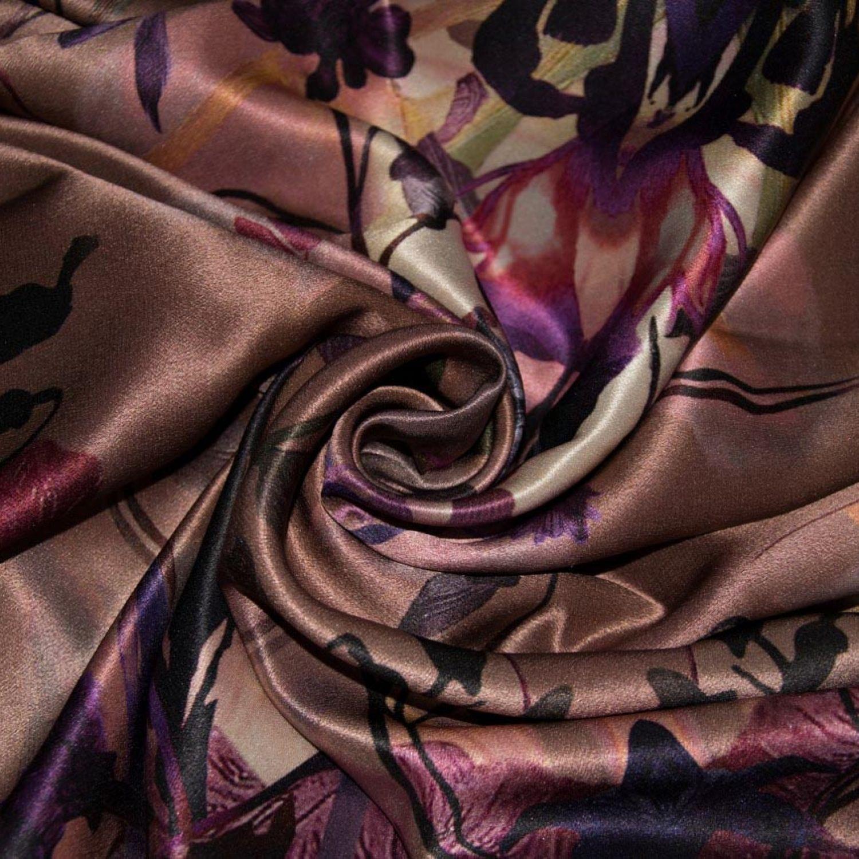 Атласний Купон: Шелк-100%, Пудровый, Фиолетовый, Сиреневый, Бежевый, Красный