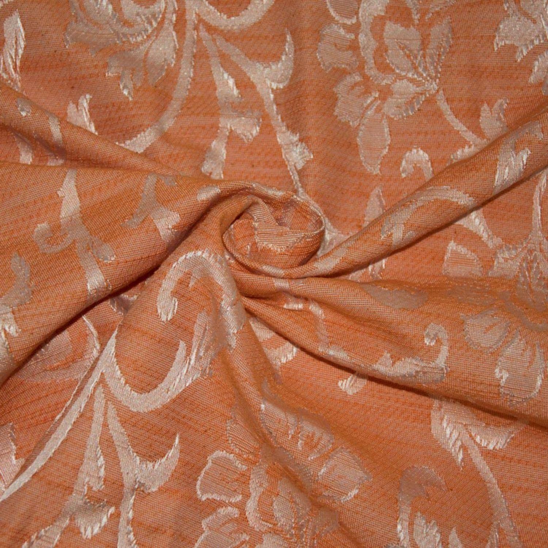 Жаккард Костюмный: Вискоза-100%, Оранжевый, Белый