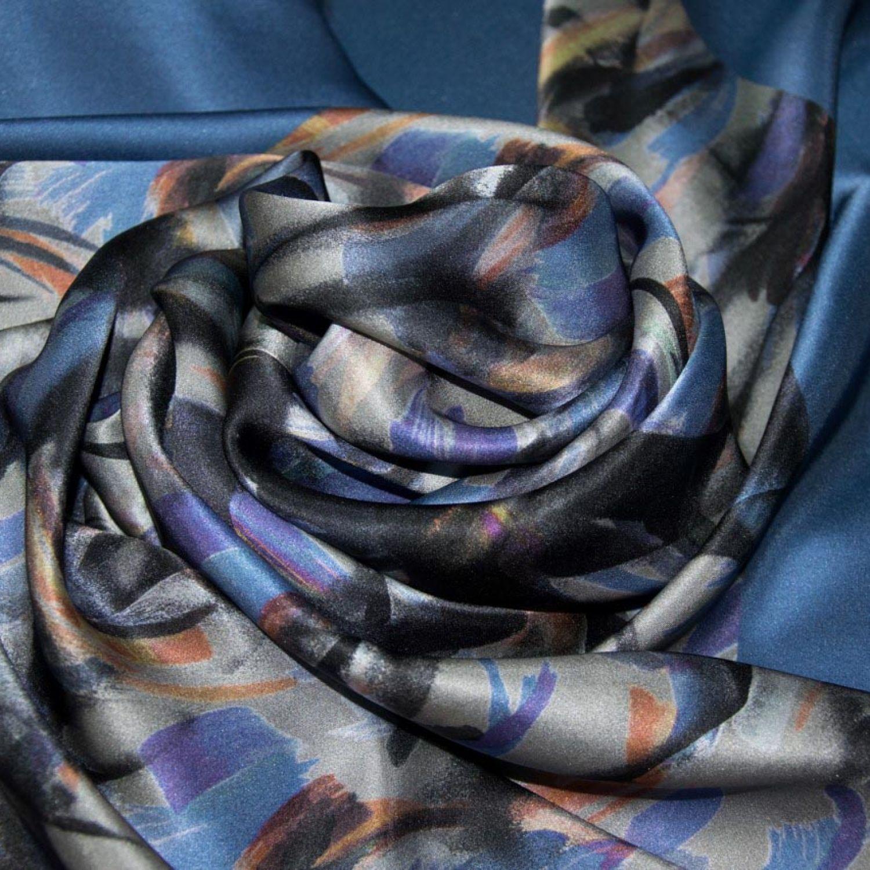 Атласный Купон-платок : Шелк-100%, Оранжевый, Фиолетовый, Синий, Черный