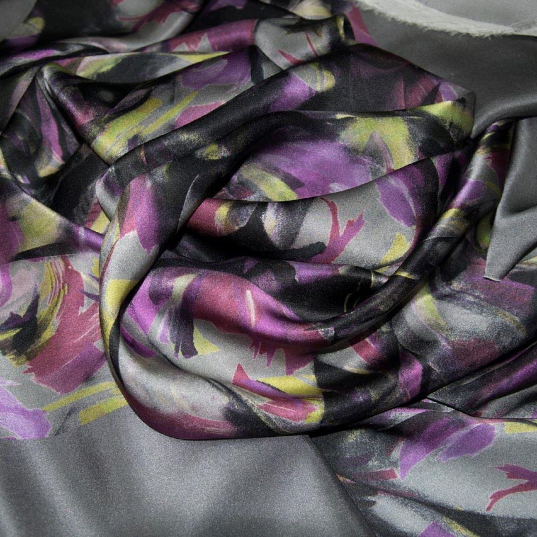 Атласный Купон-платок : Шелк-100%, Серый, Желтый, Сиреневый, Черный