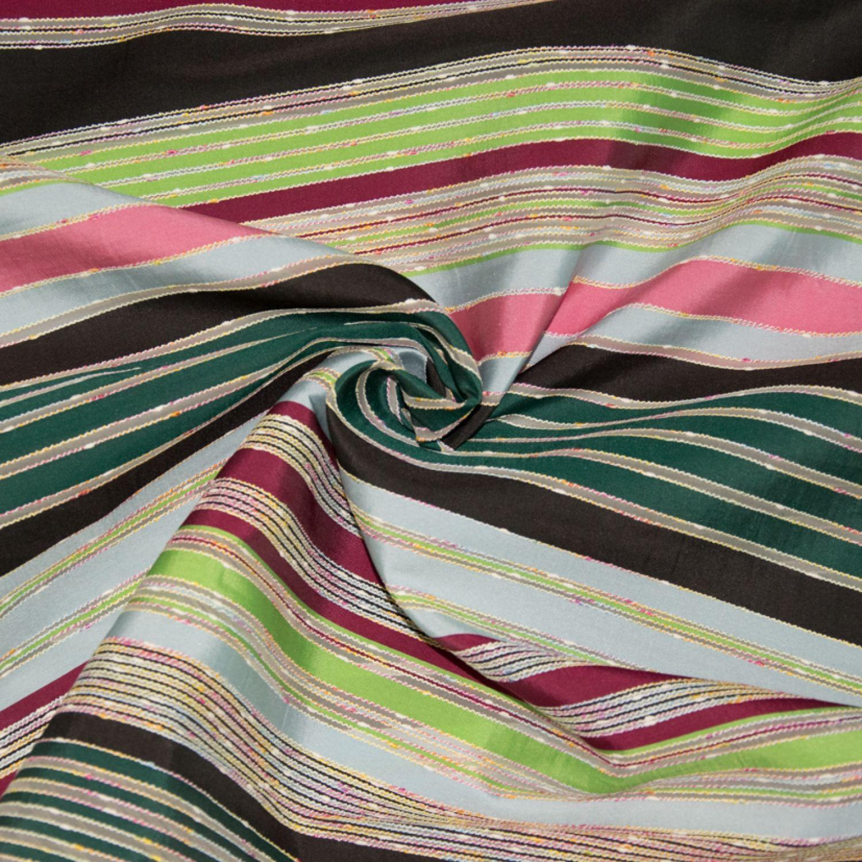 Жаккард Hermes : Шелк-70%, Вискоза-30%, Зеленый, Черный, Красный, Розовый, Полосы